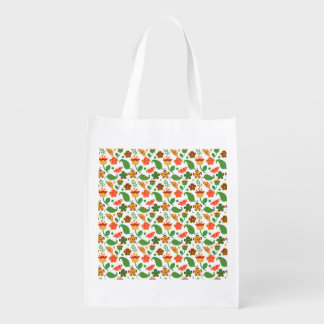 Thanksgiving Fall Autumn Pattern Reusable Grocery Bag