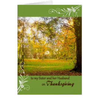 Thanksgiving Fall Colors for Sister & Husband Card