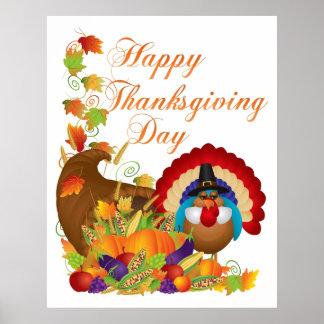 Thanksgiving Fall Harvest Cornucopia and Turkey Poster