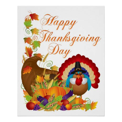 Thanksgiving Fall Harvest Cornucopia and Turkey Poster