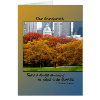 Thanksgiving Fall in Central Park for Grandparents Card
