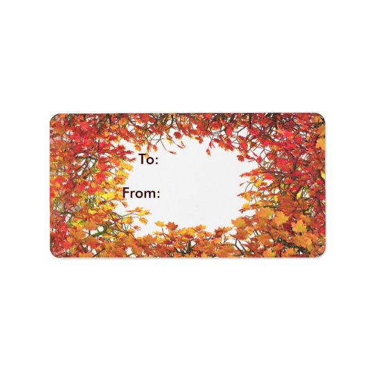Thanksgiving Fall Leaf Circle Gift Tag