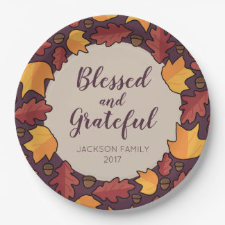 Thanksgiving Fall Leaves Blessed Grateful Paper Plate
