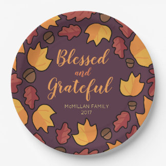 Thanksgiving Fall Leaves Blessed Grateful Purple Paper Plate