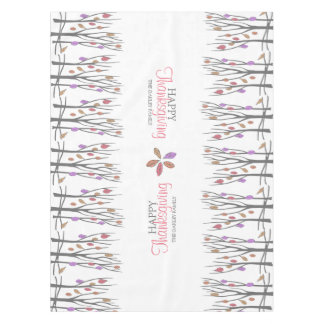 Thanksgiving fall leaves personalized family name tablecloth