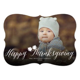 Thanksgiving Fall Leaves Simple Script Photo Card