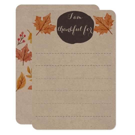 Thanksgiving Family Table Activity | Thankful List Card
