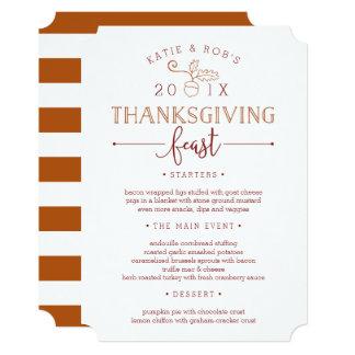 "Thanksgiving Feast Custom Dinner Menu 5"" X 7"" Invitation Card"