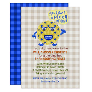 """Thanksgiving Feast Fall Dinner Party Funny Pie Pun 5"""" X 7"""" Invitation Card"""