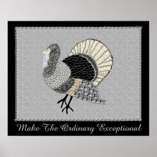 Thanksgiving fleuri noir et blanc Turquie Poster