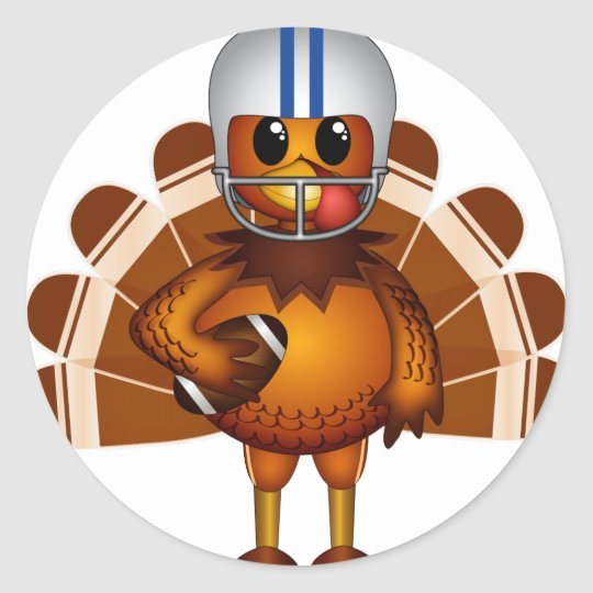 Thanksgiving Football Classic Round Sticker