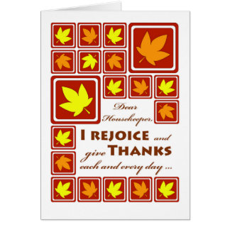 Thanksgiving for a Housekeeper, Autumn Leaves Card