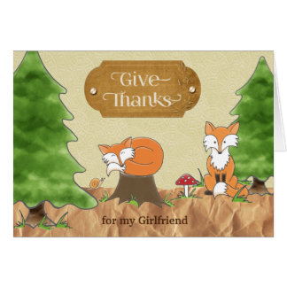 Thanksgiving for Girlfriend Scrapbooky Woods Foxes Card