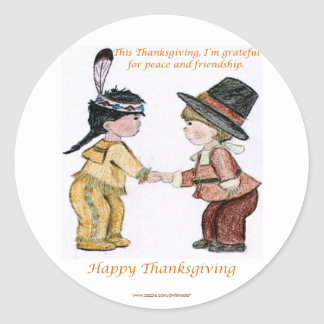 Thanksgiving Friendship and Peace Classic Round Sticker