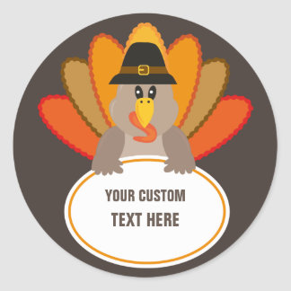 Thanksgiving funny turkey custom text template classic round sticker