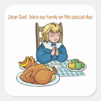 Thanksgiving girl saying prayer square sticker