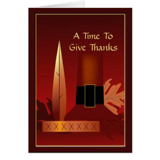 Thanksgiving Give Thanks Pilgrim Indian Design Greeting Card