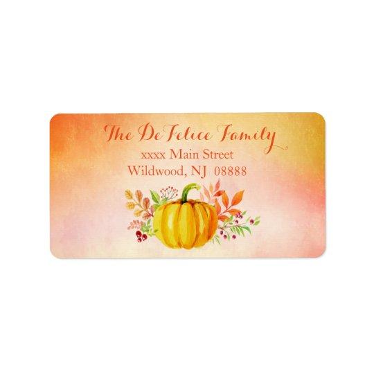 "Thanksgiving ""Grateful"" Watercolors Label"