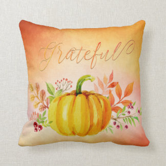 "Thanksgiving ""Grateful"" Watercolors Throw Pillow"