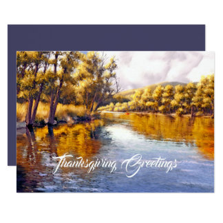 Thanksgiving Greetings. Autumn Scenery Custom Card