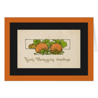 Thanksgiving Greetings- Pumpkin-Art Deco Greeting Card