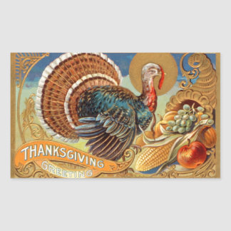 Thanksgiving Greetings Vintage Sticker