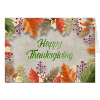 "Thanksgiving - ""Happy Thanksgiving"" Watercolors Card"