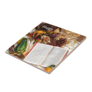 Thanksgiving Harvest and Bible Ceramic Tile