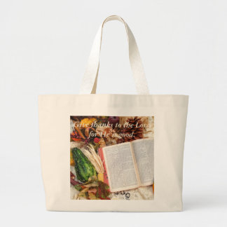 Thanksgiving Harvest and Bible Large Tote Bag