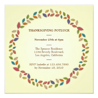 """Thanksgiving Harvest Leaves Potluck Party 5.25"""" Square Invitation Card"""