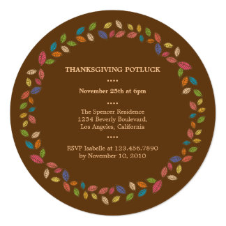 "Thanksgiving Harvest Leaves Potluck Party 5.25"" Square Invitation Card"