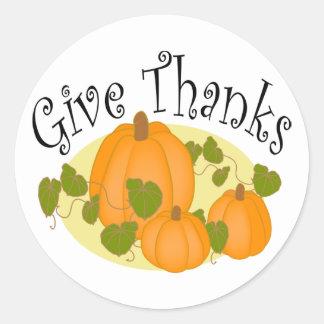 Thanksgiving Harvest Pumpkins Classic Round Sticker