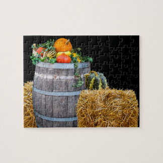 Thanksgiving Harvest Scene with Barrel and Produce Jigsaw Puzzle