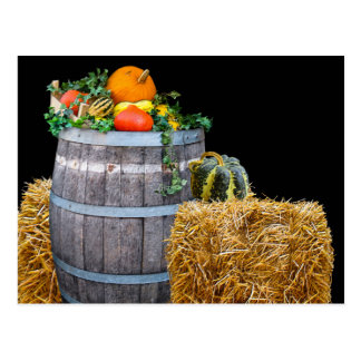 Thanksgiving Harvest Scene with Barrel and Produce Postcard
