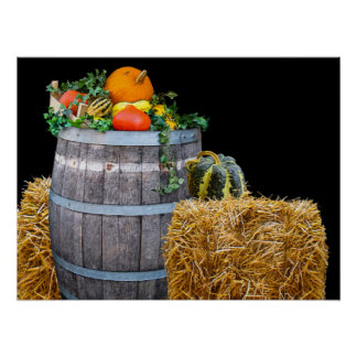 Thanksgiving Harvest Scene with Barrel and Produce Poster