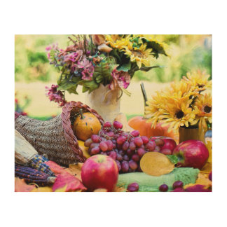 Thanksgiving Harvest Scene with Barrel and Produce Wood Wall Art