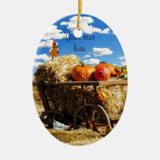 Thanksgiving Harvest Wagon Ceramic Ornament