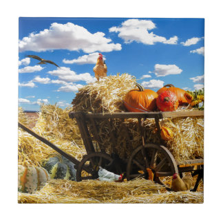 Thanksgiving Harvest Wagon Ceramic Tile