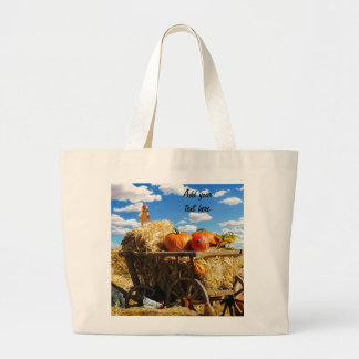Thanksgiving Harvest Wagon Large Tote Bag