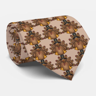 Thanksgiving Holiday turkey tiled tie