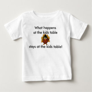 Thanksgiving Infant What happens at the Kids Table Baby T-Shirt
