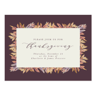 Thanksgiving invitation postcard