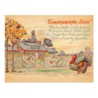 Thanksgiving Joys Vintage Postcard