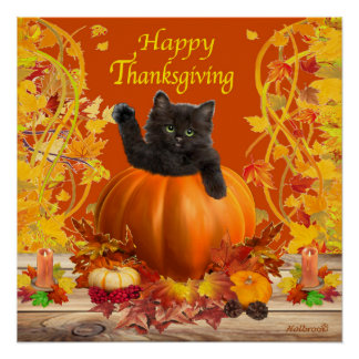 Thanksgiving Kitty Perfect Poster