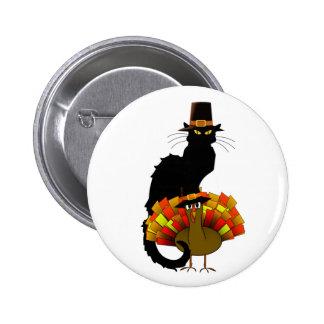 Thanksgiving Le Chat Noir With Turkey Pilgrim 2 Inch Round Button