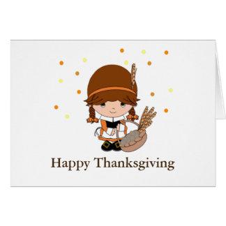 Thanksgiving Little Pilgrim Girl Card
