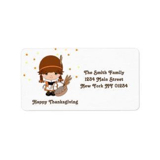 Thanksgiving Little Pilgrim Girl Label