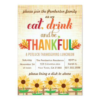 """Thanksgiving Lunch Potluck Eat Drink Give Thanks 5"""" X 7"""" Invitation Card"""
