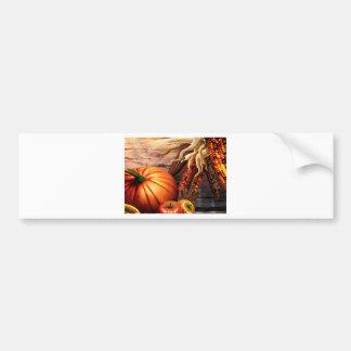 Thanksgiving Maize Corn Pumpkin Bumper Sticker