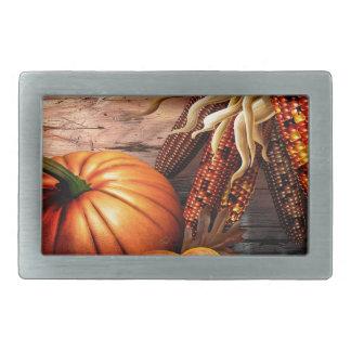 Thanksgiving Maize Corn Pumpkin Rectangular Belt Buckles